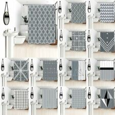 Simple Grey Waterproof Polyester Bathroom Shower Curtain With Free 12 Hooks