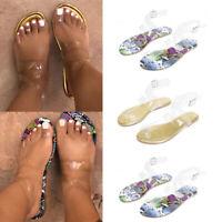 Women's Summer Flat Sandals Transparent Ankle Strap Sandals Comfort Beach Shoes