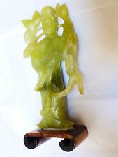 """Chinese Natural Jade Hand Carved Figure Statue with Wood Base, 5.25"""" tall"""