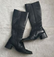 Russell & Bromley Black Leather Knee High Boots Size 4/4. Square Toe Block Heel