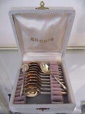 12 cuillères à moka métal doré à la russe Ercuis (demi tasse spoons)