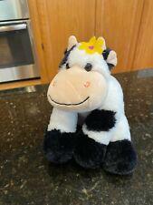 """Unipak COW plush with Yellow Flower 10"""" Black & White Floppy Stuffed Animal Toy"""