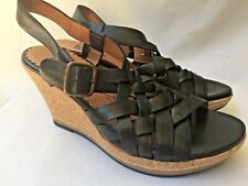 Indigo by Clarks Womens Platform Sandals Black Leather Wedge Woven Slingback 8
