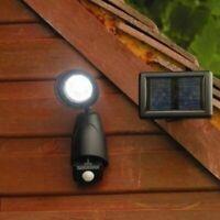 Black LED Motion Sensor Security Wall Light Outdoor Solar Powered Power Garden
