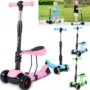 3-in-1 Kleinkinder LED Kinderroller mit Sitz Scooter Kinderscooter 3 Räder