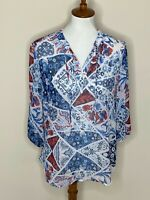 Chico's Size 1 Blue Red White Sheer 3/4 Sleeve V-Neck Top Shirt Floral Women's