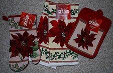 4 PC SET HOLIDAY/ CHRISTMAS/ POINSETTIA KITCHEN DISH TOWELS/ POTHOLDER/MITT NWT