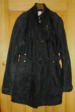 Ladies FIRETRAP Black Cotton Blend, Quiled Lining Zip Up Long Jacket - Size L