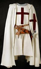 MEDIEVAL RED TEMPLAR Tunic Surcoat & Cloak Crusader Sleeveless Renaissance LARP
