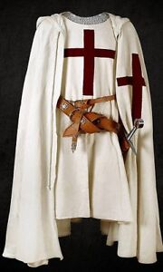 MEDIEVAL RED TEMPLAR Tunic Surcoat Crusader Sleeveless Renaissance LARP