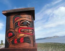 Northwest coast First Nations wood native Art carved Memorial Box, Bear