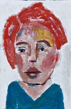 Original Outsider Art Portrait Oil Painting Be Gentle Katie Jeanne Wood