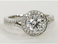 1,60 Ct Solitaire ronda diamante anillo conjunto en 18 K Oro Blanco Sellado