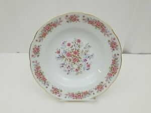 """Remington Fine China by Red Sea 9"""" Serving Bowl White Gold Trim Flowers Dish"""