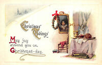 Christmas Tidings c1915 Embossed Postcard Christmas Day Table Wreath