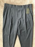 "ALL SAINTS MEN'S GREY ""SIRIS"" WOOL CROPPED TROUSERS PANTS - 32"" - NEW & TAGS"