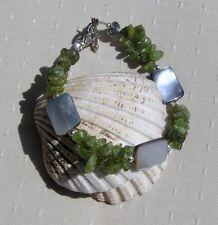 "Green Peridot & Black Mother of Pearl Gemstone Bracelet ""Celtic Moorland"""