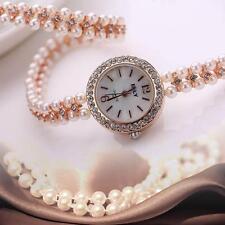 Women Pearl Bracelet Wrist Analog Quartz Crystal Rhinestone Round Watch Gold GA