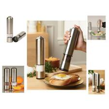 Electric Stainless Steel Pepper Salt Mill Grinder Battery New LED Operated S1D2