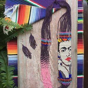 Frida Kahlo Necklace Earring Set Seed Bead Pink/Purple Glass Bead