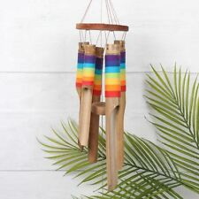 RAINBOW CHAKRA BAMBOO WINDCHIME round wooden chimes reiki FAIR TRADE BALI NEW!