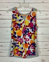 Pixley Stitch Fix Women's M Medium Gray Floral Sleeveless Cute Top Tank Blouse