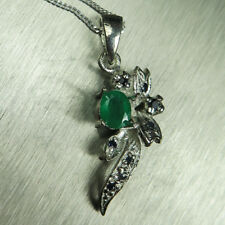 Natural Emerald & Sapphires 9ct 14k 18k yellow white Gold pendant with chain