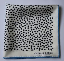 Chester Barrie White & black spotted pocket square. New condition