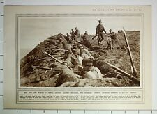 1915 WWI WW1 PRINT SERBIAN INFANTRY MANNING A HILL TOP TRENCH AGAINST BULGARIA