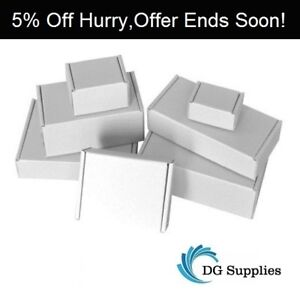 White Die Cut Folding Lid Postal Cardboard Boxes Small Mailing Shipping Cartons-