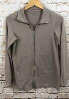 Eileen Fisher track jacket womens petite small zip up beige pockets C6