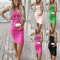 Women Pregnancy Maternity Above Knee Cartoon Bodycon Vest Sleeveless Mini Dress