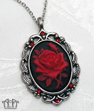 Gothic Black RED ROSE CAMEO NECKLACE Victorian Style Pendant Antique Silver D42