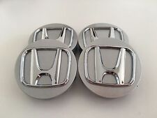 SET OF 4 58 mm / 2.25 SILVER WHEEL BADGE CENTER CAPS FOR HONDA CIVIC INTEGRA