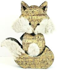 """Fox Figure Frosted Glittery Furry Corrugated 14"""" x 11"""" x 2"""" Nwt"""