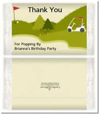Golf Cart - Custom Birthday Party Popcorn Wrappers - Set of 12
