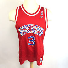 Vintage 1990's USA Allen Iverson NBA Sixers Champion Red Basketball #3 Jersey