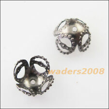150 New Gunmetal Black Leaf Flower End Bead Caps Connectors 8mm