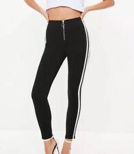 e2d2f909d2f22a B108# Missguided Black Zip Front Double Stripe Leggings Size UK 6