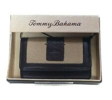 Tommy Bahama Men's Khaki Canvas & Brown Leather ID Card Case Wallet in Gift Box