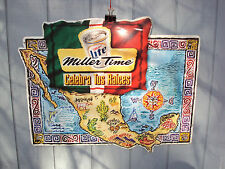 Large MILLER LITE TIME MEXICO Beer Cerveza Celebra Tus Raices MANCAVE Tin Sign