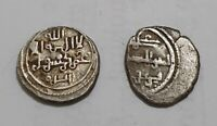 SET OF 2 ANDALUSIAN SILVER COINS QUIRATE + 1/2 QUIRAT ALI IBN YUSUF 0.95g &0.47g