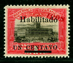 """PARAGUAY  1908 Governmental Palace -HABILITADO- Sc#172 """"1908"""" greatly OFF PLACE"""