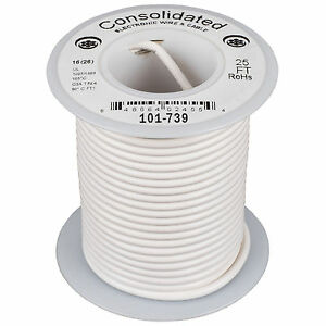 Consolidated Stranded 16 AWG Hook-Up Wire 25 ft. White UL Ra
