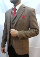 Vintage Men's Designer Cavani Tweed Blazer Jacket -  Tan tonal Check