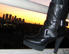 NINE WEST NWIREESH IREESH BLACK LEATHER PLATFORM BOOT SHEARLING LINED BUCKLES