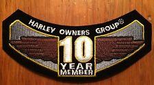 "Harley Davidson HOG Patch ""10 Year Member"" Harley Owners Group"