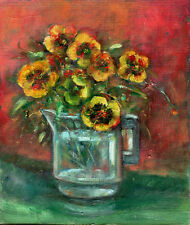Pansies in Glass  10x8 in. Acrylic on panel  Hall Groat Sr.