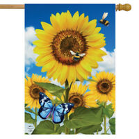 """Sunflowers and Bees Spring House Flag Floral Butterfly 28"""" x 40"""" Briarwood Lane"""