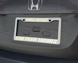WHITE ON WHITE  REFLECTIVE CUSTOM TEXT PERSONALIZED License Plate Frame